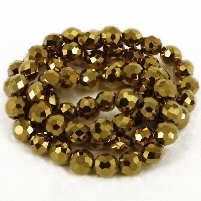 8 x 7 mm fire polished Crystals Gold Christmas Jewellery Beads Pack 72 -A1