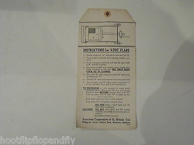 Vintage Instructions For Atoz Flare  Carbide Acetylene Corporation Leaflet Rare