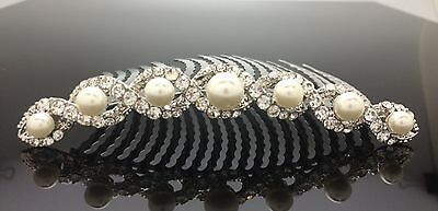 Bridal Wedding Crystal Pearl Hair Long Comb Diamante Silver 10cm Deb Formal