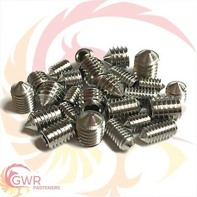 M3 M4 M5 M6 - CONE Point Grub Screws A2 Stainless - Socket Allen Key