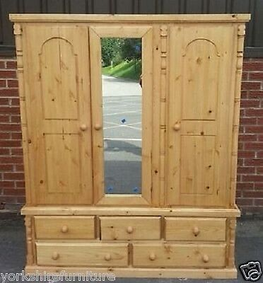 New Hand Made Wales Pine Triple 5 Drawer Wardrobe (No Flat Packs)