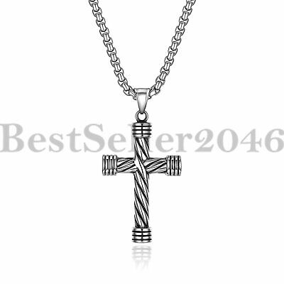 Mens Womens Stainless Steel Jesus Cross Religious Pendant Necklace 22""
