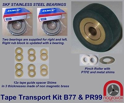 Revox Tape Transport Kit - Tape Guide bearings +  Pinch Roller for  B77 PR 99