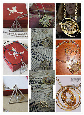 Harry Potter Necklace 18k Gold Plated Time Turner noble + Alloy Deathly Hallows