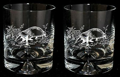 *BADGER GIFT* Boxed Pair of GLASS WHISKY TUMBLERS with BADGER design