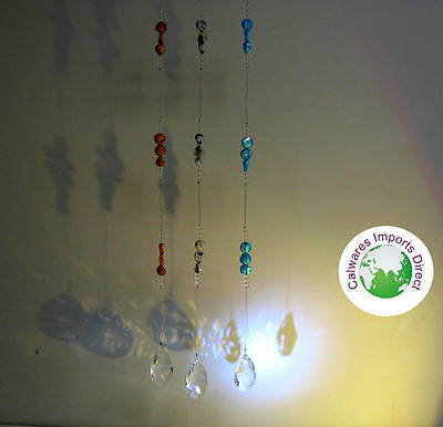 Sun catcher Hanging Ornament  Crystal Tear Drop with Beads