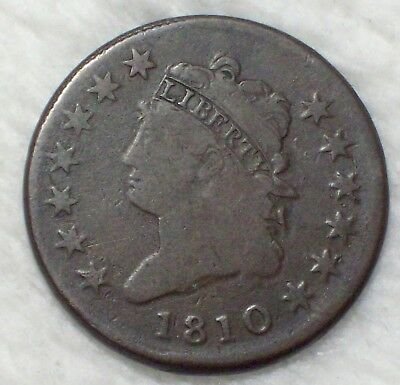 1810 CLASSIC HEAD LARGE CENT F+ S-283 Variety Authentic Colonial *RARE* US Coin