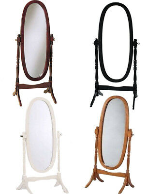Swivel Full Length Wood Cheval Floor Mirror, White/Oak/Cherry  Finish New