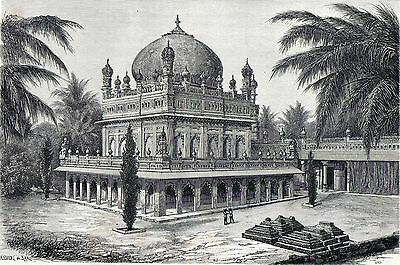Antique print Tombs of the Kings of Golconda Hyderabad India 1870
