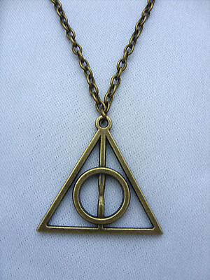 A Bronze Tone Harry Potter The Deathly Hallows Charm Pendant Chain Necklace