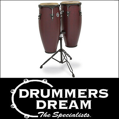"""LP CITY WOOD CONGAS 11""""/12"""" DARK WOOD FINISH W/STAND RRP $999 Brand New"""
