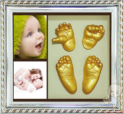 Baby Keepsake 100% Safe Shadowbox photo frame &  DIY Baby 3D Casting Kit  C