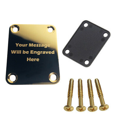 Custom Engraved Etched GOLD PLATED Guitar Neck Plate Personalized Fit Fender
