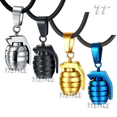 TTstyle Stainless steel Grenade Pendant Free Chain Choose Colour