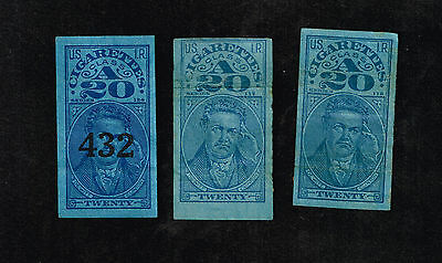 DeWitt  Clinton Cigarette Tax Revenue Class A Stamps - Lot of 3 each