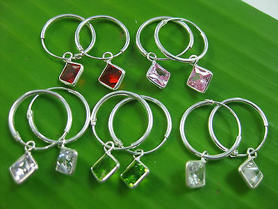"925 Sterling silver ""5 colour"" 14mm sleepers CZ SQUARE CHARM EARRINGS -TEEN GIRL"