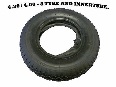 4.00 - 8 (4.80 / 4.00 - 8)Bent Valve  Wheelbarrow Tyre And Inner Tube, Garden.