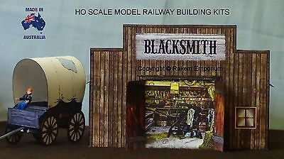 HO Scale Blacksmith Shed with Wagon & Trailer Model Railway Building Kit - REBS