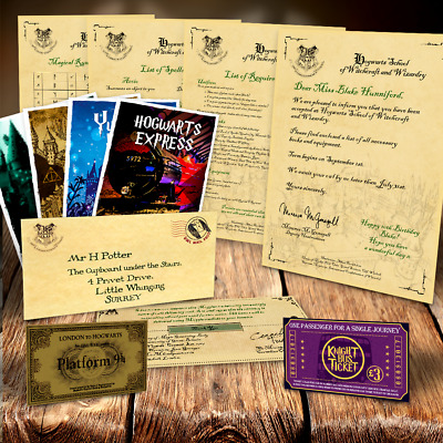 PREMIUM Harry Potter Hogwarts Acceptance Letter package tickets spells & MORE