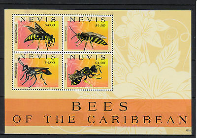 Nevis 2013 MNH Bees of Caribbean 4v M/S Insects Nature Stamps