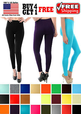 "Women Seamless One Size Opaque 35"" Length Capri Leggings Jeggings Yoga Pants"