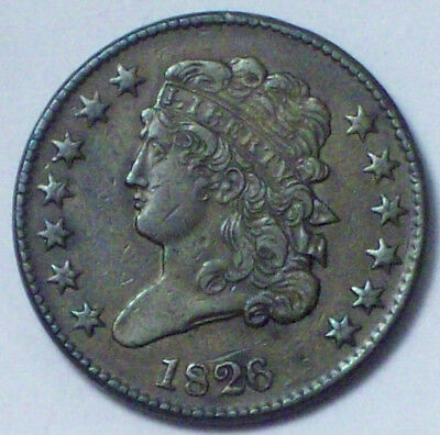 1826 HALF CENT Classic Head XF Detailing RARE Colonial US Coin C-1 Authentic HC