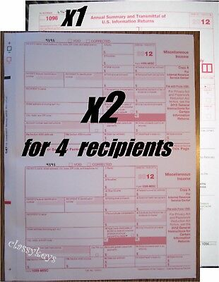 2014 Irs Tax Form 1099 Misc Carbonless 2 Sets For 4 Recipients