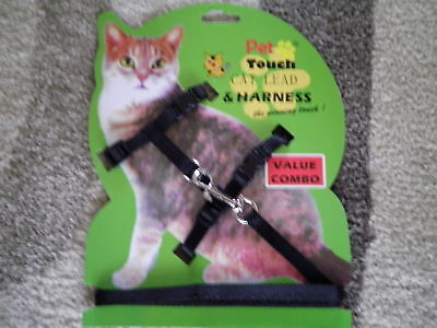Cat, Kitten Lead & Harness, blue black or red, new