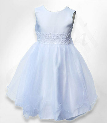 Baby Girls White Flower Girl Dresses Pageant Party Christening Dress 0 to 24 M