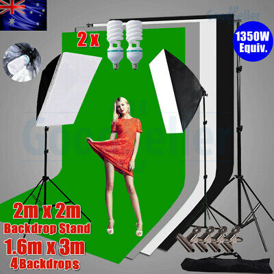 4 Backdrops+Support Stand Photography Studio Softbox Lighting Soft Box Light Kit