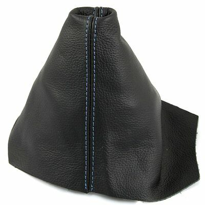 FITS VW VW POLO Mk3 2000 2001 LUPO BLACK GAITER REAL LEATHER BLUE STITCH NEW