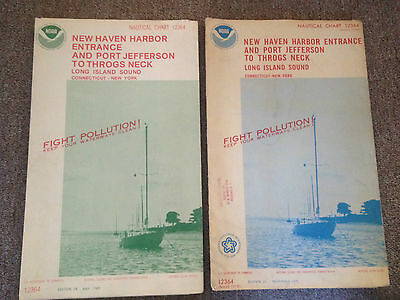 2 -Vintage Nautical Charts Map Long Island-New Haven-Throgs Neck Port Jeff 75/85