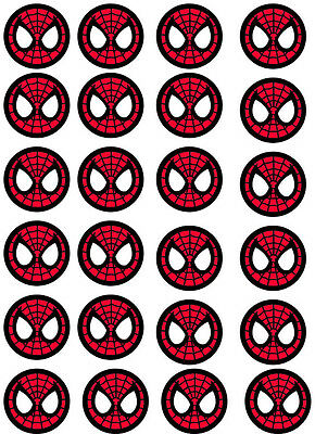 Spiderman Faces Edible Cupcake / Fairy Cake Wafer Paper Toppers x 24 (1)