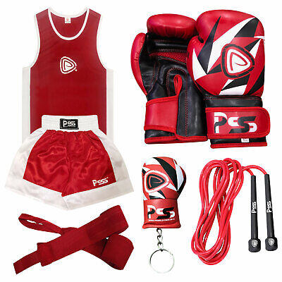 New Kids boxing uniform set of 2 top & short 3-14 year  + boxing gloves 1008
