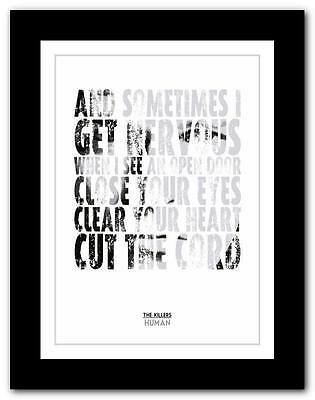 ❤ THE KILLERS - Human ❤ song lyric typography poster art print A1 A2 A3 or A4
