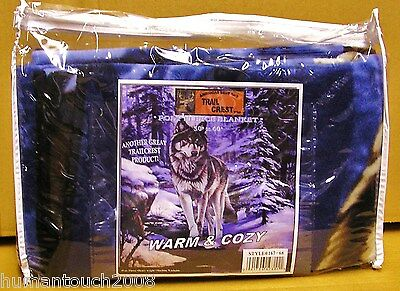 Poly Fleece Wolf Nature Blanket Throw