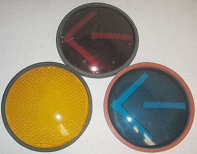 Glass Traffic Light Signal Lens Cover Blue Red Yellow 3x Arrow Turn Vintage
