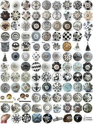 Black white grey vintage ceramic knobs drawer pull cupboard door knobs china