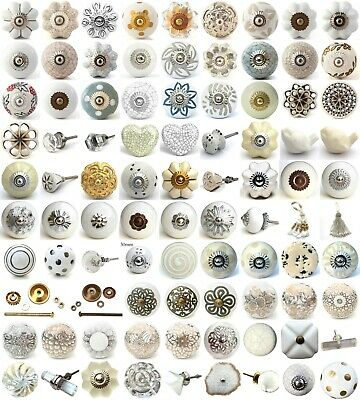 White cream ceramic knobs drawer pulls cupboard door knobs porcelain china