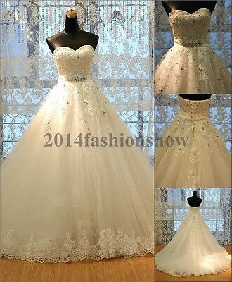 New Sweetheart Applique Ball Gown Wedding Dresses Bridal Gown White/Ivory Custom