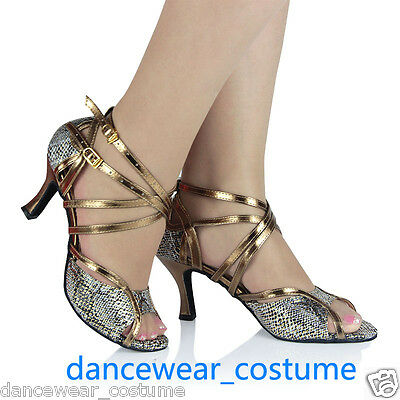 New Women Snake Print Rumba Tango Latin Salsa Ballroom Dance Shoes Heeled US 5-8