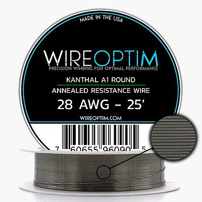 Kanthal 28 Gauge AWG A1 Wire 25ft Roll .32004mm , 5.27 Ohms/ft Resistance