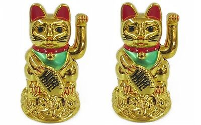 "2 PCS Feng Shui GOLD BECKONING CAT Wealth Lucky Waving Kitty Maneki Neko 4"" Tall"
