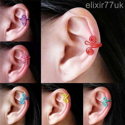 New Swirl Spiral Twist Ear Cuff Clip Wrap Cartilage Earring Emo Punk Gothic Gift