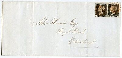 RARE 1840 cover Glasgow to Edinburgh pair 1d grey-black  pl 1a lettered DK/DL