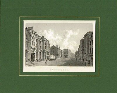 Antique Old Engraving Print of Manchester Lancashire England c.1830