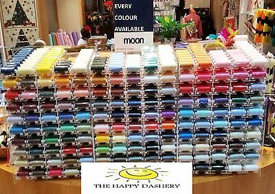 Moon Sewing Thread - Spun Polyester 1000 Yard Reel - Huge Choice Of Colours