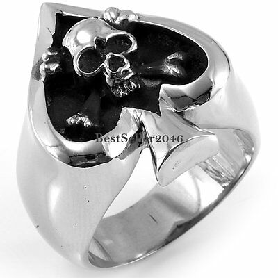 Vintage Gothic Skull Biker Tribe Ace of Spades Stainless Steel Men's Ring Silver