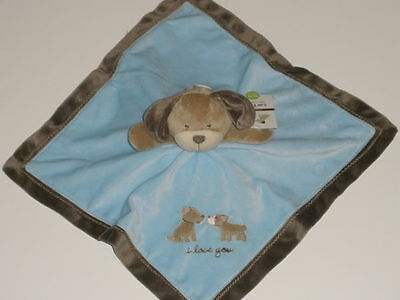NWT Carters I Love You Blue Puppy Dog Security Blanket Rattle Lovey Baby Toy