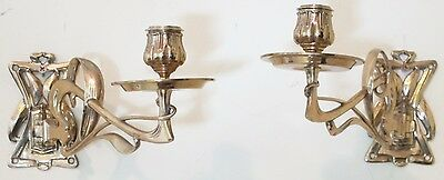 Fine Pair of Art Nouveau Brass Candle Wall Sccones  c. 1900   antique holders